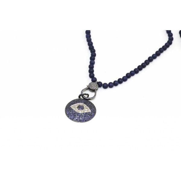 Aqua Blue Quartz Stone, Sapphire Diamond Pave Pendant Necklace