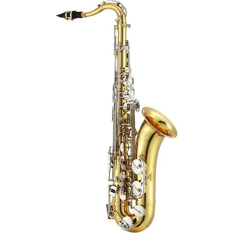 Jupiter Tenor Saxophone Bb Tenor, Lacquered Brass Body, Nickel-Plated Keys, High F, tilting G# - Bb table keys, upper and lower stack adjustment screws, blued steel springs, metal tone boosters, adjustable thumb rest, wood-frame case (KC-67P)