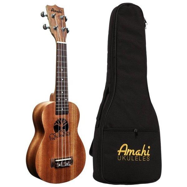 Amahi Amahi Mahogany Series Soprano Ukulele, Traditional Shape, Select Mahogany Top, Back & Sides, Laser Etched Soundhole