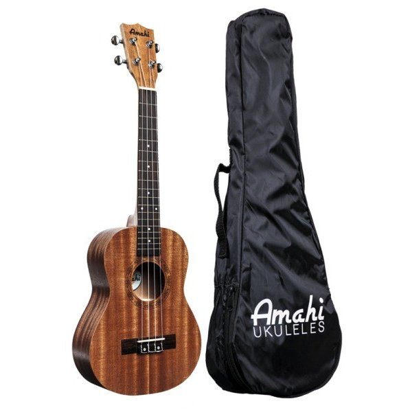Amahi Amahi Mahogany Series Concert Ukulele, Traditional Shape, Select Mahogany Top, Back & Sides, includes padded gig bag