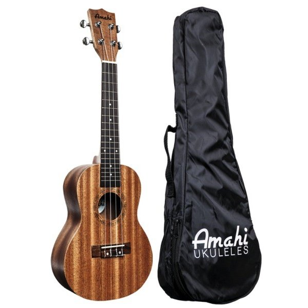 Amahi Amahi Mahogany Series Tenor Ukulele, Traditional Shape, Select Mahogany Top, Back & Sides, includes padded gig bag