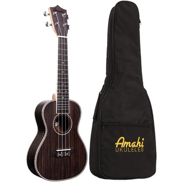Amahi Amahi Classic Series Tenor Ukulele, Rosewood Top, Back & Sides, Sealed Guitar Tuners, includes padded gig bag