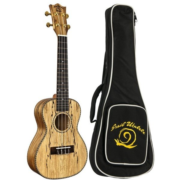 Amahi Amahi Snail Ukulele, Concert, Spalted Maple Top, Back & Sides, includes padded gig bag