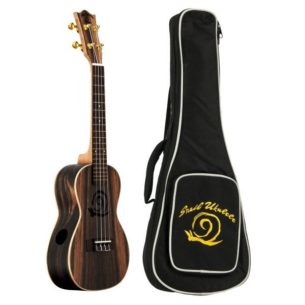 Amahi Amahi Snail Ukulele, Concert, Ebony Top, Back & Sides, Digital Tuner and Pickup, includes padded gig bag
