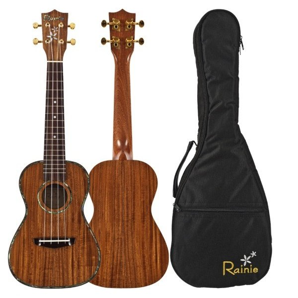 Amahi Amahi Rainie Series, Concert Ukulele, Solid Acacia Koa Top, Back & Sides, Artist Model, includes padded gig bag