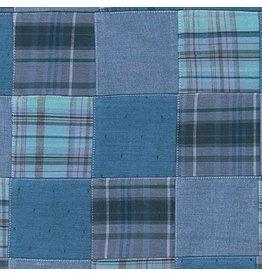 Robert Kaufman Nantucket Patchwork 2 in Blue, Fabric Half-Yards