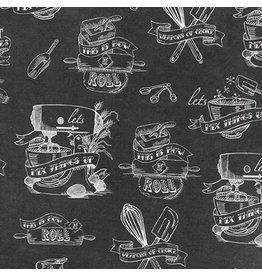 Robert Kaufman In the Kitchen, Chalkboard in Charcoal, Fabric Half-Yards