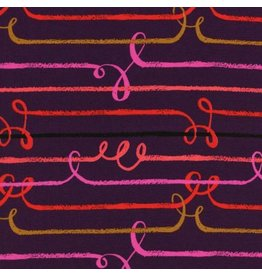 Sarah Watts Rayon, Honeymoon, Zipline in Purple, Fabric Half-Yards