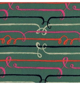 Sarah Watts Rayon, Honeymoon, Zipline in Green, Fabric Half-Yards