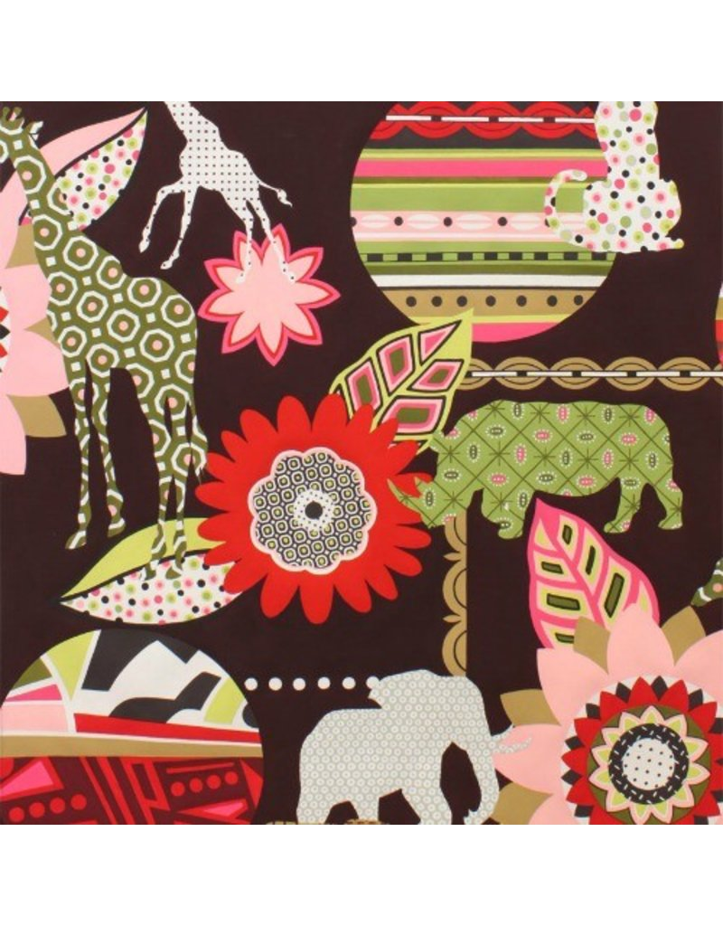 Alexander Henry Fabrics Africa, Mbali in Coffee, Fabric Half-Yards