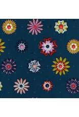 Melody Miller Picnic, Enamel Flowers in Teal, Fabric Half-Yards
