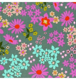 Melody Miller Cotton Lawn, Playful, Vintage Floral in Aqua, Fabric Half-Yards