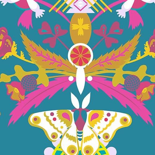 Alison Glass Ex Libris, Bookplate in Indigo, Fabric Half-Yards