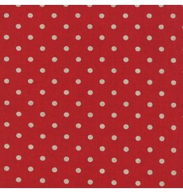 Moda Linen Mochi Dot in Red, Fabric Half-Yards