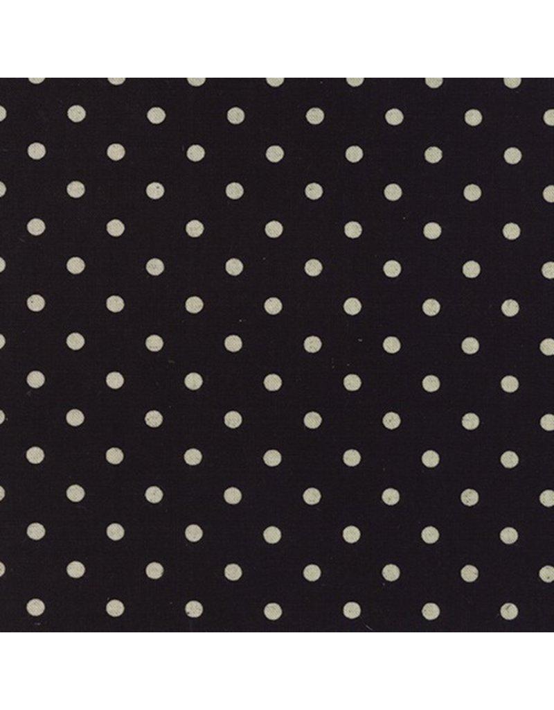 Moda Linen Mochi Dot in Black, Fabric Half-Yards