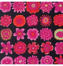 Kaffe Fassett Kaffe Collective Fall 2015, Button Flowers in Black, Fabric Half-Yards
