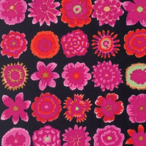 Kaffe Fassett Kaffe Collective Fall 2015, Button Flowers in Black, Fabric Half-Yards