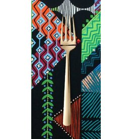 PD's Alexander Henry Collection Prairie House Abstract in Black and Turquoise, Dinner Napkin