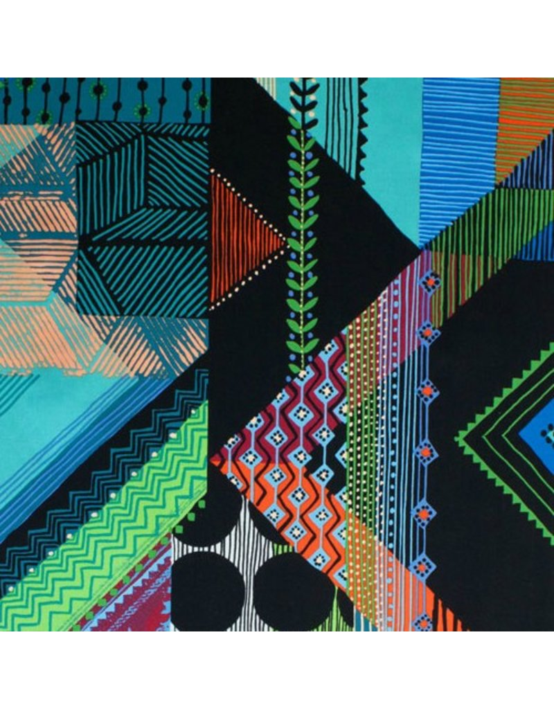 Alexander Henry Fabrics Prairie House, Abstract in Black and Turquoise, Fabric Half-Yards