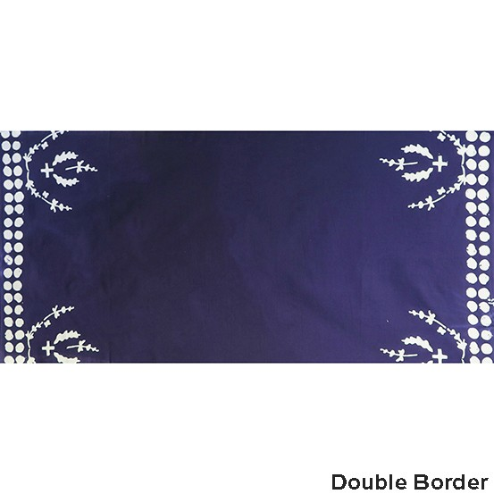 Alison Glass Handcrafted Indigos, Plume Double-Border in Navy, Fabric Half-Yards