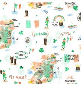 Dear Stella Luck of the Irish, Map in Multi, Fabric Half-Yards
