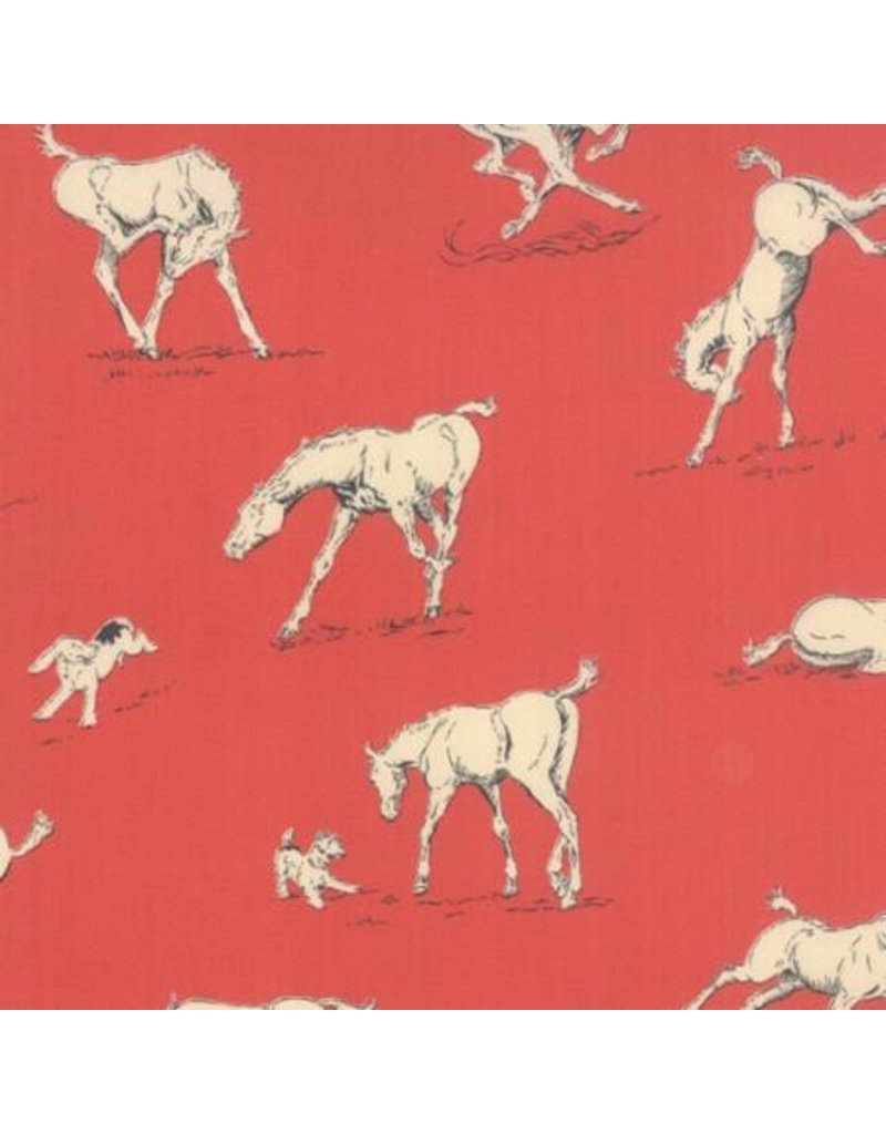 Erin Michael Purebred, Horsing Around in Derby Red, Fabric Half-Yards