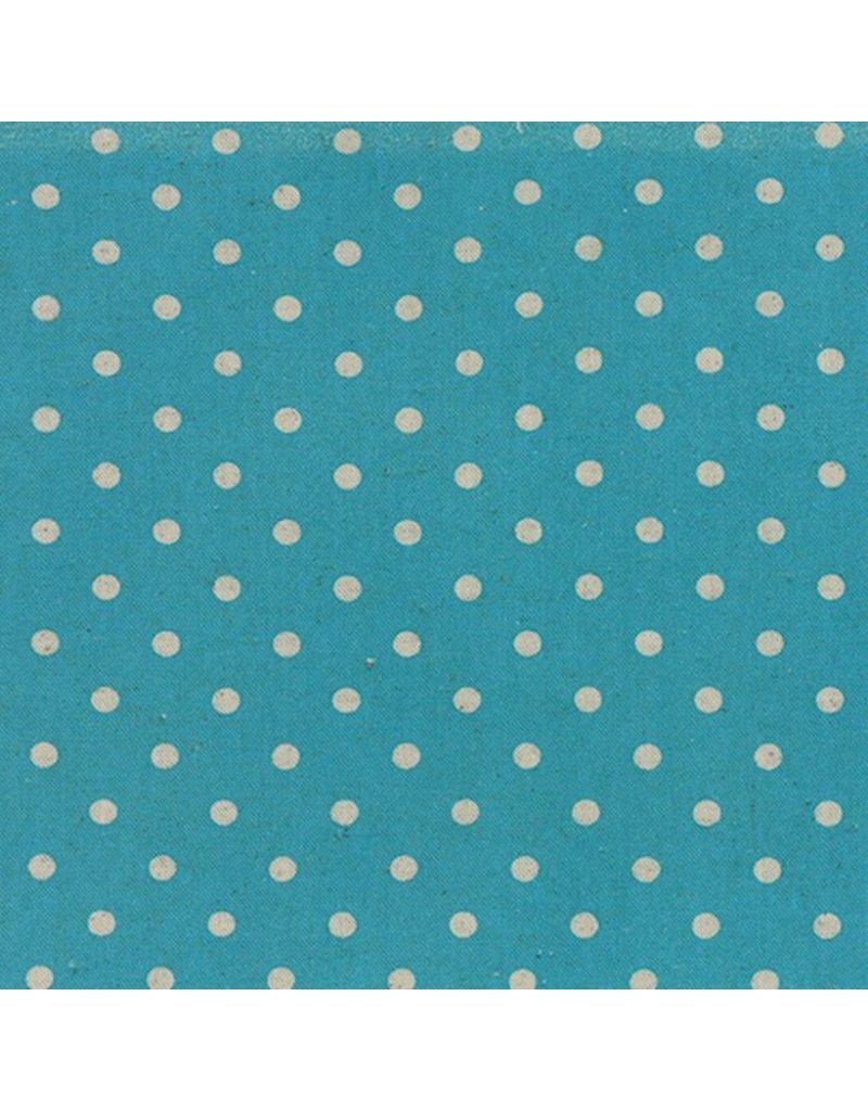 Moda Linen Mochi Dot in Turquoise, Fabric Half-Yards