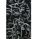 Alexander Henry Fabrics Black & White, Abstract Expression in Black, Fabric Half-Yards