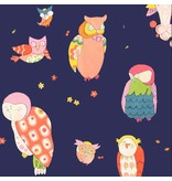 Alexander Henry Fabrics Rita Floral, Spotted Owl in Navy, Fabric Half-Yards