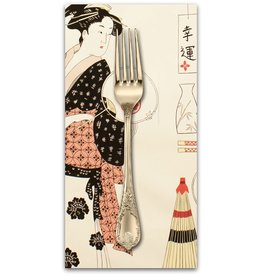 PD's Alexander Henry Collection Indochine, Geisha Coterie in Light Tea, Dinner Napkin