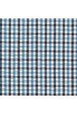 Robert Kaufman Indigo Seersucker in Indigo Checks, Fabric Half-Yards