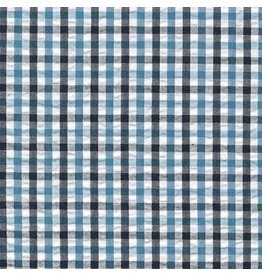 Robert Kaufman Indigo Seersucker in Indigo Checks, Fabric Half-Yards