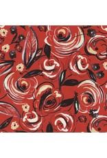 Timeless Treasures Velo, Rose Brushstrokes in Red, Fabric Half-Yards