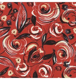 Timeless Treasures Velo, Rose Brushstrokes in Red, Fabric Half-Yards