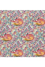 PD's Tula Pink Collection Chipper, Fox Nap in Sorbet, Dinner Napkin