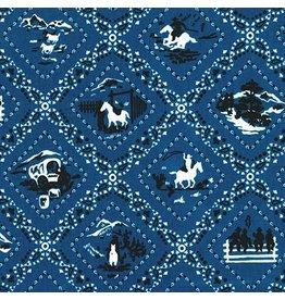 Robert Kaufman Ride 'Em Cowboy 2, Bandana in Blue, Fabric Half-Yards