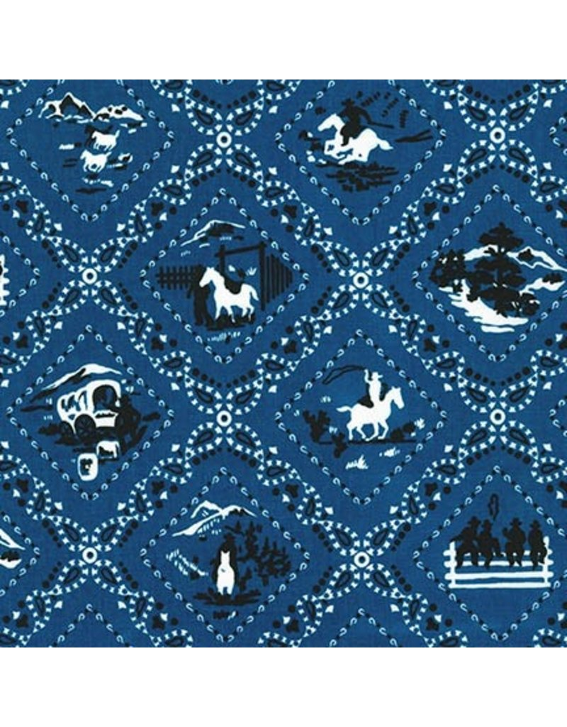 Robert Kaufman Ride 'Em Cowboy 2, Bandana in Blue, Fabric Half-Yards