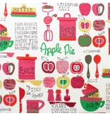 Alexander Henry Fabrics In the Kitchen, Oh My Apple Pie in Dark Pink, Fabric Half-Yards