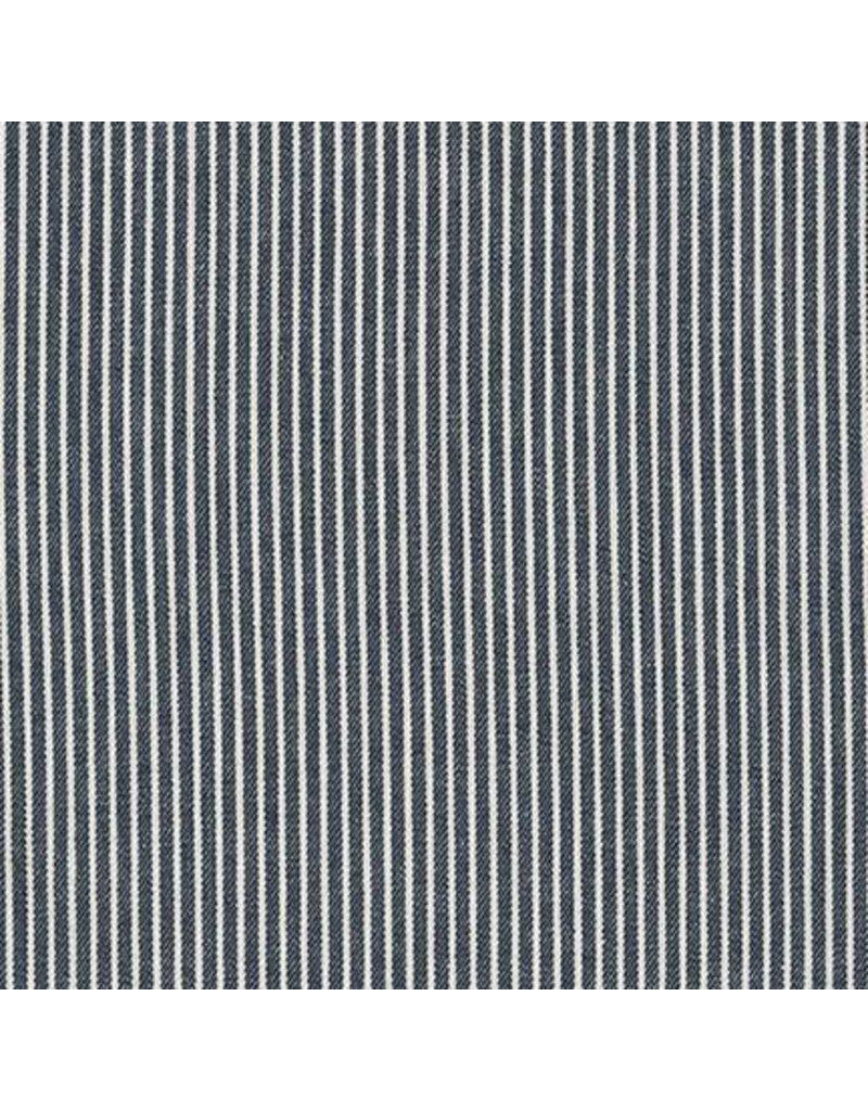 Robert Kaufman House of Denim Railroad Denim Medium Stripe in Indigo, Fabric Half-Yards