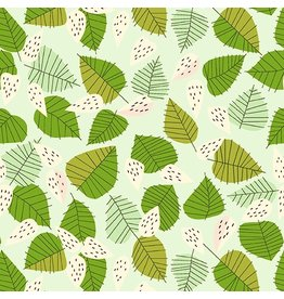 Lizzy House The Lovely Hunt, Strawberry Field in Green, Fabric Half-Yards