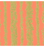 Michael Miller Glitz, Bars in Peach and Gold Metallic, Fabric Half-Yards