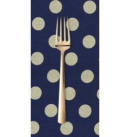 PD's Michael Miller Collection Glitz, Quarter Dot Pearlized in Navy and Bronze Metallic, Dinner Napkin