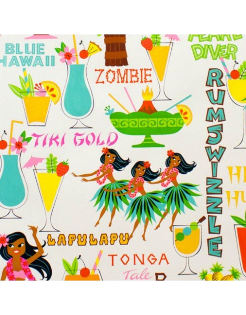 Alexander Henry Fabrics Tiki Dreams, Rum Swizzle in Natural, Fabric Half-Yards