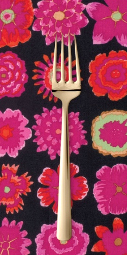 PD's Kaffe Fassett Collection Kaffe Collective Fall 2015, Button Flowers in Black, Dinner Napkin