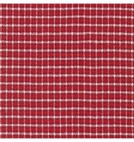 Robert Kaufman Yarn Dyed Cotton Flannel, Mammoth Flannel in Red Check, Fabric Half-Yards