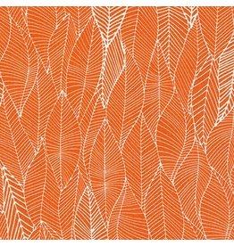 Robert Kaufman In the Bloom Leafy in Mango, Fabric Half-Yards