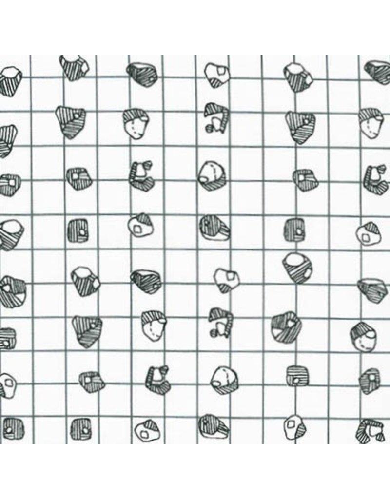 Carolyn Friedlander Carkai, Grid Bits in White, Fabric Half-Yards