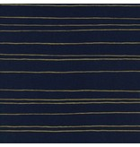 Melody Miller Fruit Dots, Gold Stripe in Navy with Metallic, Fabric Half-Yards