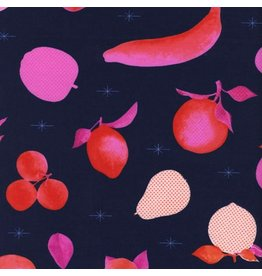 Melody Miller Fruit Dots, Fruit Stand in Navy, Fabric Half-Yards