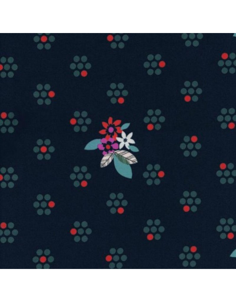 Melody Miller Fruit Dots, Fruit Blossom in Navy, Fabric Half-Yards